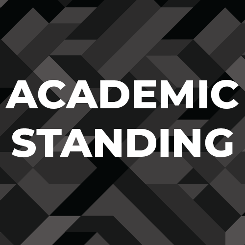 """Academic Standing"" over a back blackground."